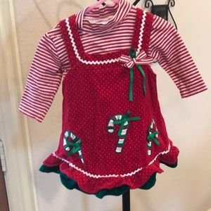 12 mon 2 Piece Christmas Dress